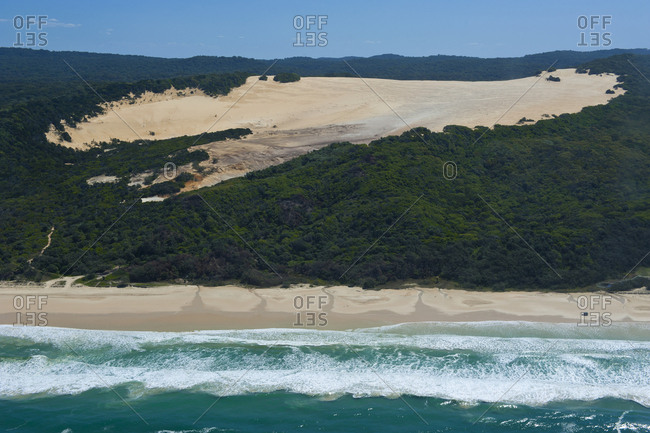 Aerial of the 75 mile beach- Fraser Island- Queensland- Australia