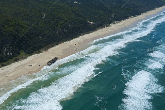 Aerial of the 75 mile beach and Mahona II shipwreck- Fraser Island- Queensland- Australia