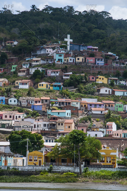 Overlook over colourful houses in Cachoeira- Brazil