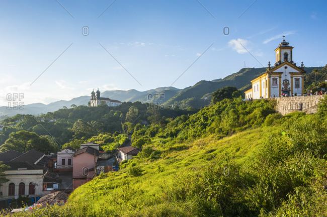 Churches on top of the Unesco world heritage site Ouro Preto- Minas Gerais- Brazil