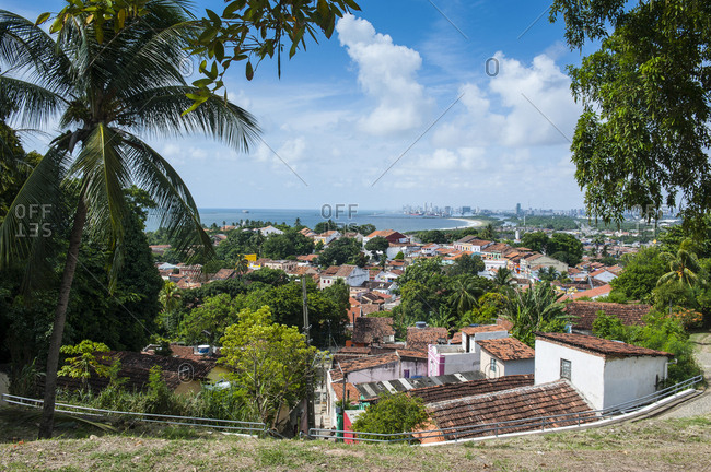 Overlook over the the colonial town of Olinda with Recife in the background- Pernambuco- Brazil