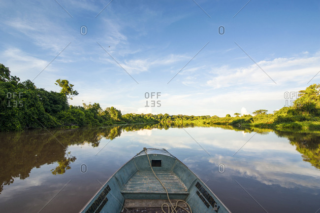Front of a boat on a river- Pantanal- Brazil