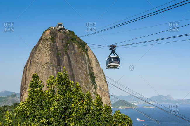 Cable car leading up to the Sugarloaf Mountain in Rio de Janeiro- Brazil