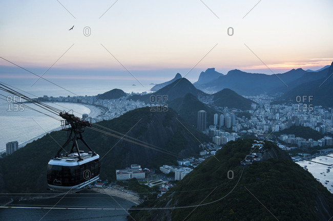View from the Sugarloaf Mountain with cable car at sunset- Rio de Janeiro- Brazil
