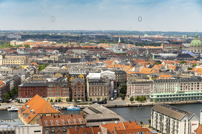 View of city center from above from Church of Our Saviour- Copenhagen- Denmark