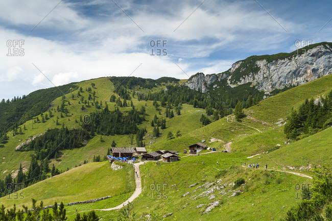 Austria- Tyrol- Maurach- Rofan Mountains- mountain huts