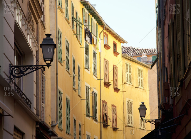 View of old apartments in Nice, France