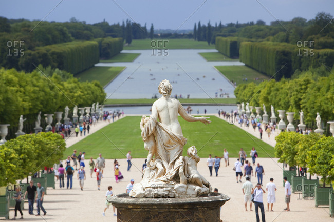 Versailles Chateau Palace gardens in Paris, France
