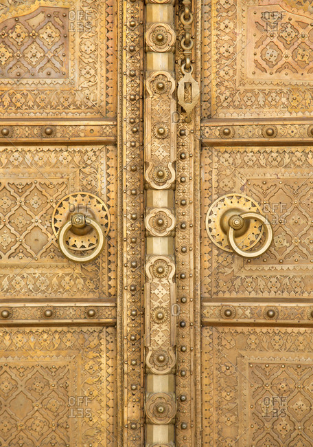 Close up of brass entrance door to the City Palace complex, Jaipur, India