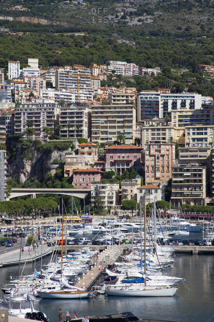 Monaco - January 28, 2010: Overview of homes and Yachts in the harbor