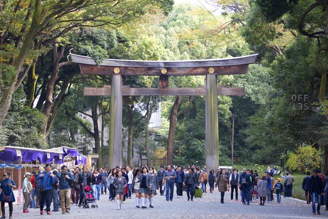 Tokyo, Japan - November 20, 2015: Meiji Jingu shrine torii gate entrance