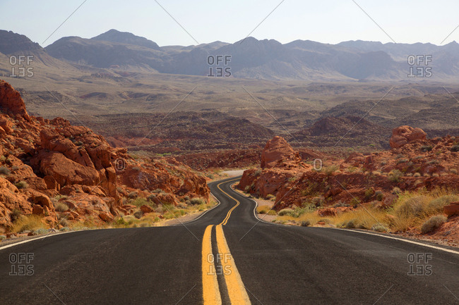Newly paved roadway in the desert, Valley of Fire State Park, Nevada, USA