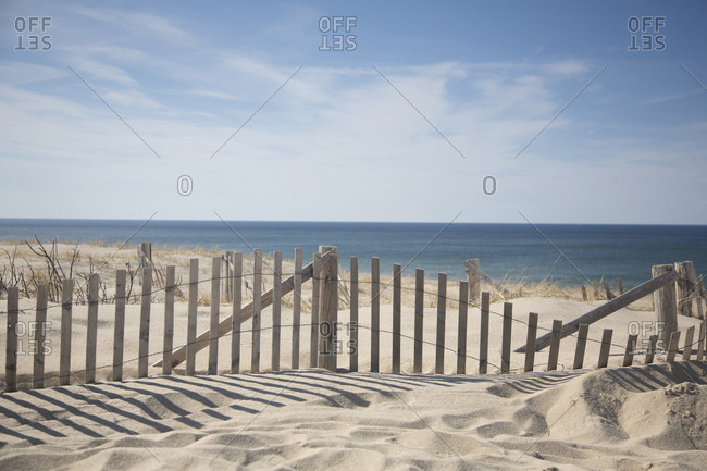 Sand fence at Cape Cod beach region, Boston, Massachusetts, USA