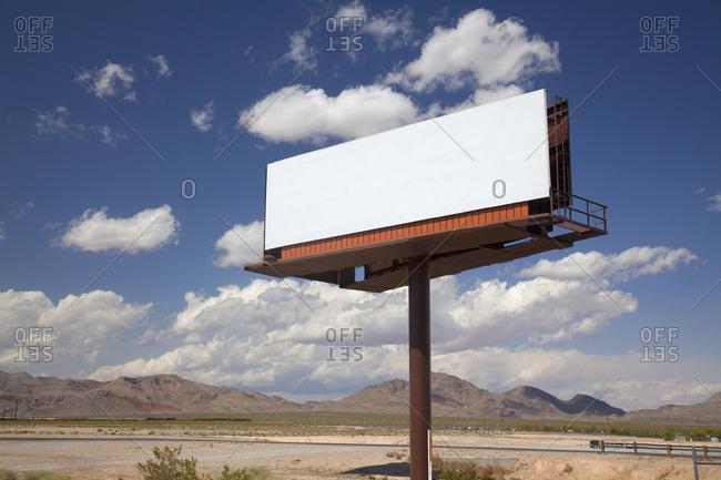 Blank billboard sign post near Las Vegas, Nevada, USA