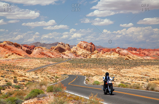 Motorcycle on roadway, Valley of Fire State Park, Nevada, USA
