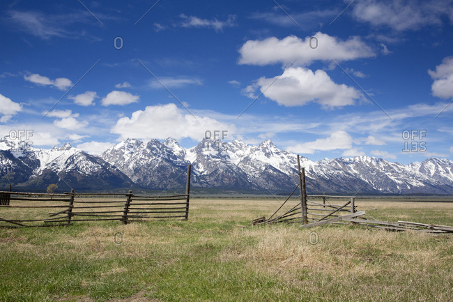 Broken down ranch fence in Yellowstone Park, Wyoming, USA