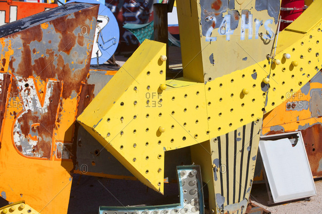 Partial view of old signs in collection at a Neon museum, Las Vegas, Nevada, USA
