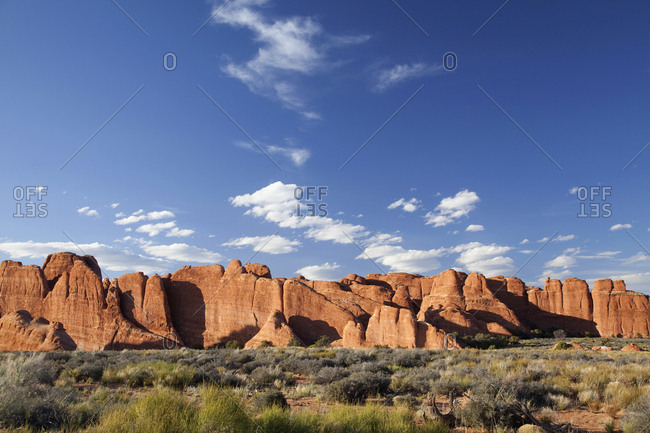 Red rock formations at sundown, Arches National Park, Utah, USA