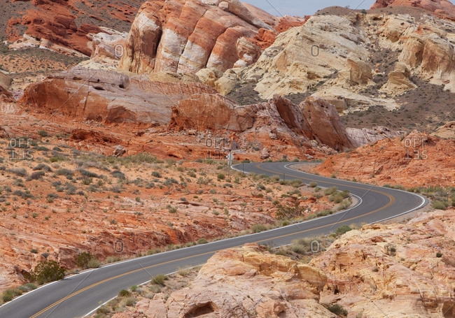 Roadway in the desert, Valley of Fire State Park, Nevada, USA