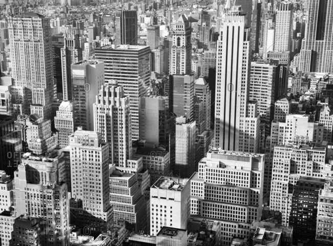 New York, USA - April 12, 2015: View of Midtown Manhattan in black and white
