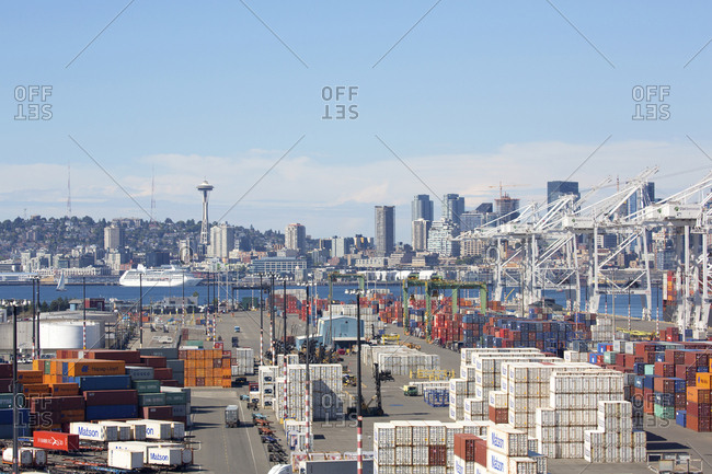 Seattle, Washington, USA - July 25, 2016: Dockyards with space needle in background and cruise ship