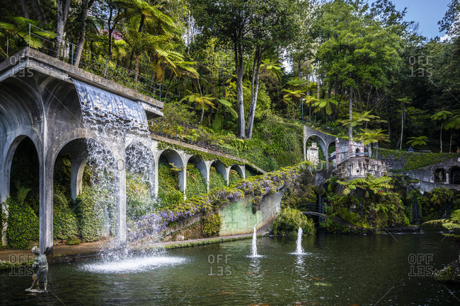 Funchal, Madeira, Portugal - April 18, 2019: Botanical garden and waterfall