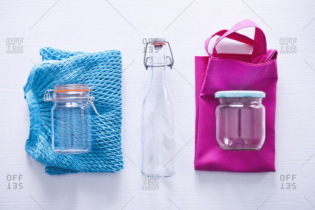 Bags and empty containers preparing for zero waste shopping