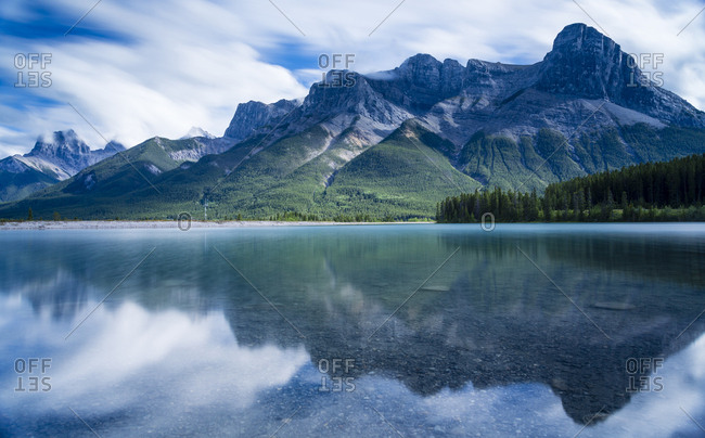 View of Ha Ling Peak and Three Sisters across Grassy Lakes, Banff National Park, Alberta, Canada