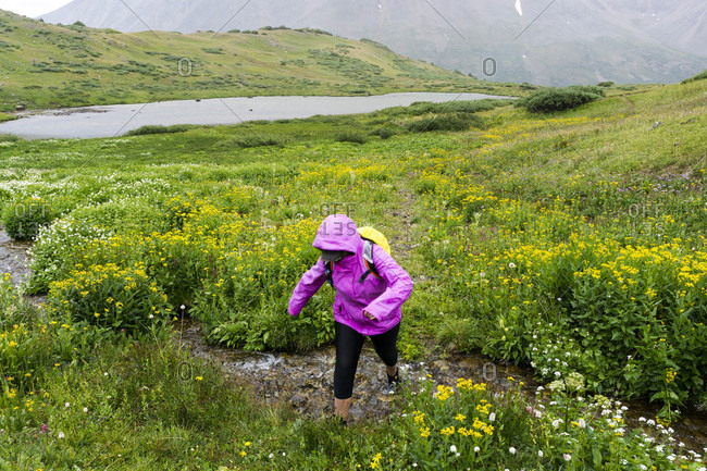 A young female hikes in the rain in the mountains