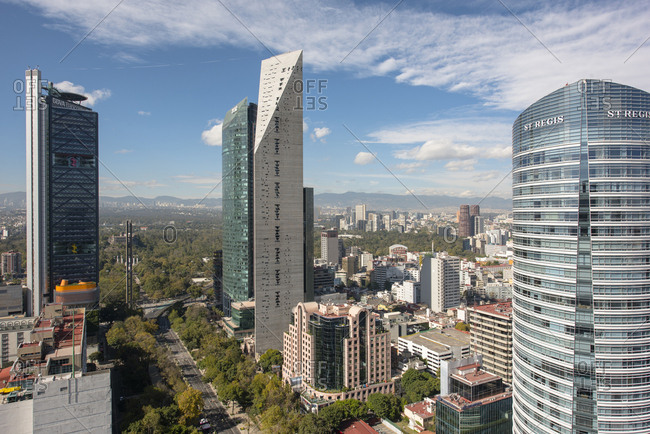 Mexico, Ciudad de Mexico, Ciudad de Mexico - December 4, 2016: Paseo de la Reforma area with Torre Mayor, Torre BBVA and Torre Reforma at Mexico City