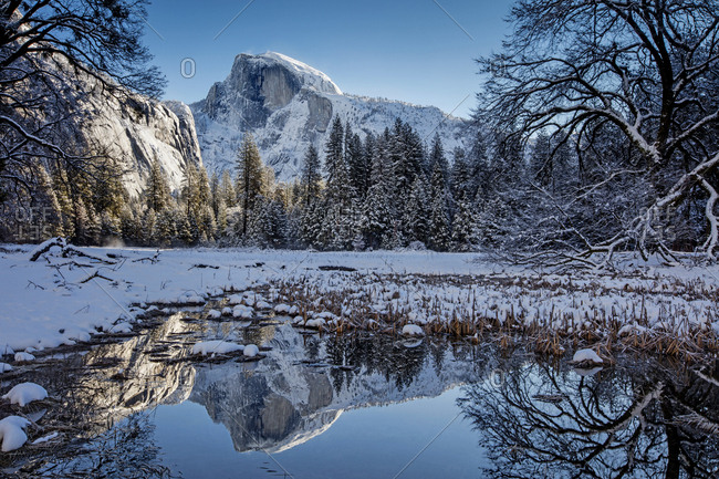 reflection of Half Dome in the water