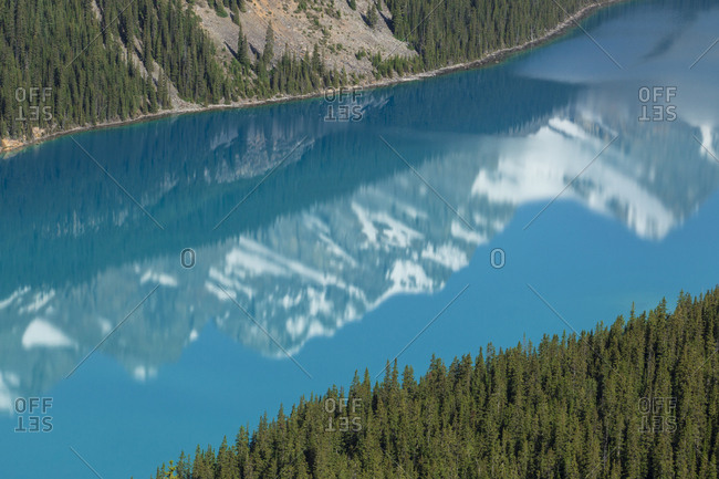 Scenery with Canadian Rockies reflecting in Peyto Lake in Banff National Park, Alberta, Canada