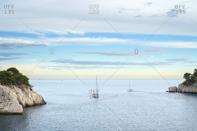 Sailboats at the entrance to Calanque de Port-Miou