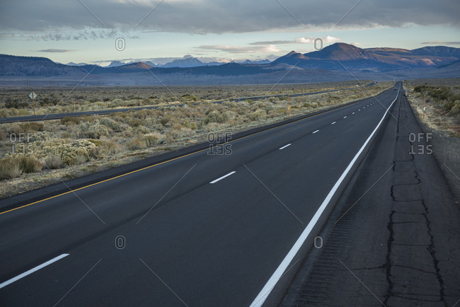 View of highway 395 near Mammoth Lakes. CA, USA.