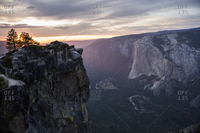 View of Yosemite Valley from Taft Point at sunrise. CA, USA.