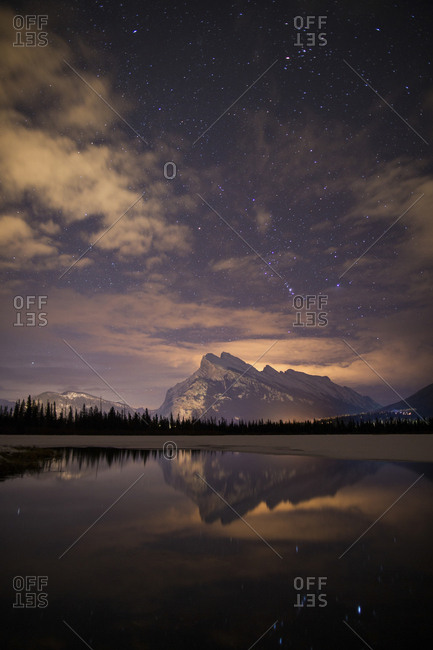 Mount Rundle at night - Offset