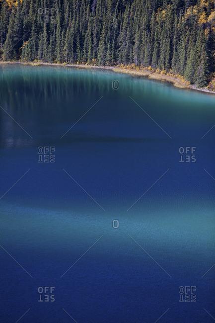 Emerald Lake viewed from above, Klondike Highway, Car cross area, Yukon, Canada.