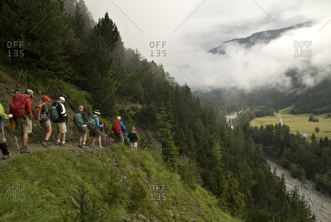Hikers trek down a hillside in a lush forest with a valley below.