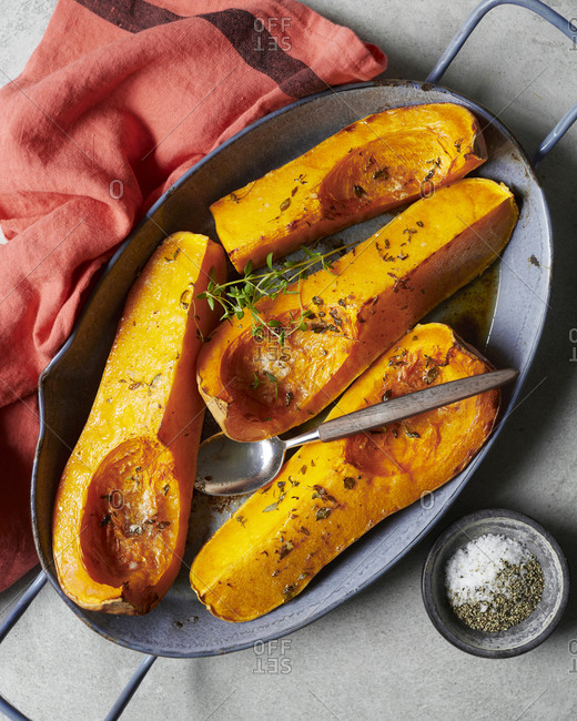 Roasted squash in oven dish