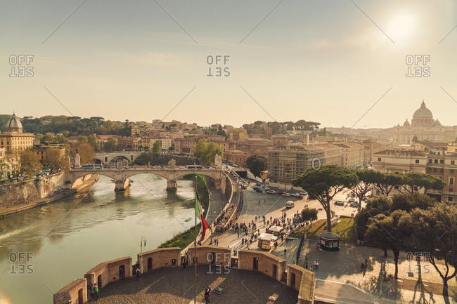 Overview of Tiber with the skyline of Rome and Vatican on the background