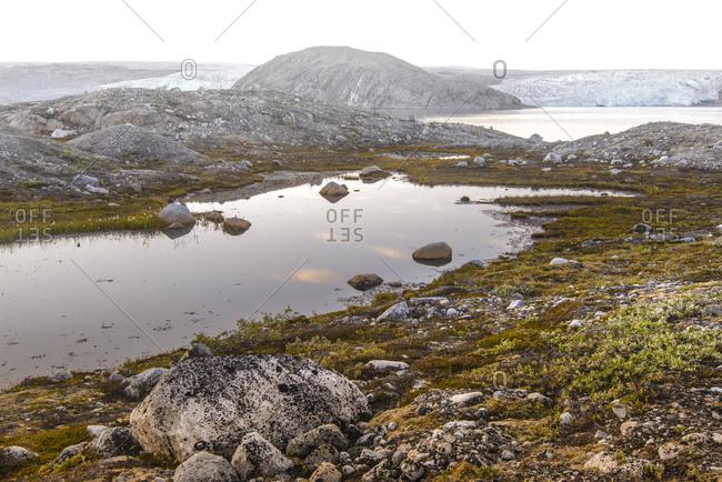 Pond near Qualerallit glacier, Narsaq, Greenland, Denmark