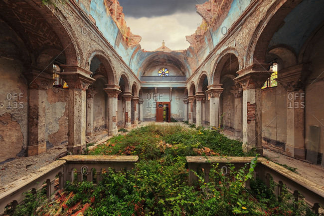Vegetation growing through an abandoned church without a roof