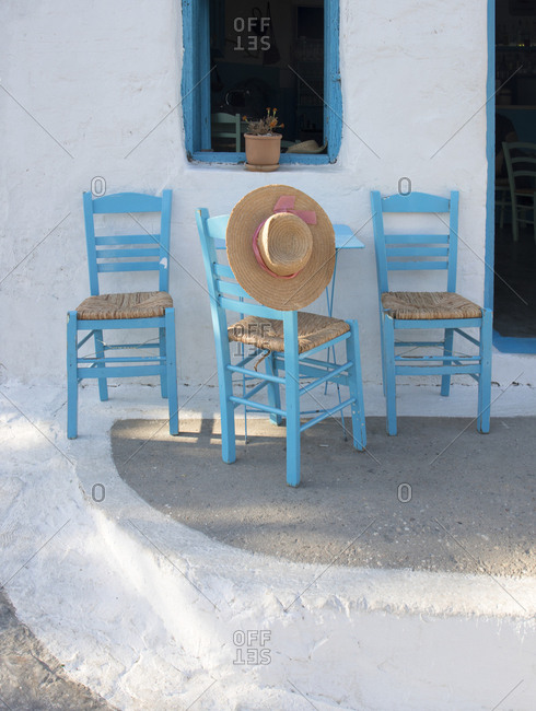 Restaurant table and chairs, Folegandros Island, Cyclades, Greece