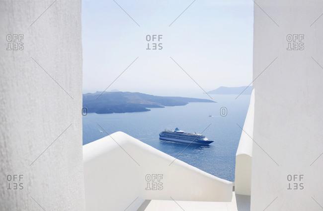 Cruise ship at Fira village, Santorini Island, Cyclades, Greece