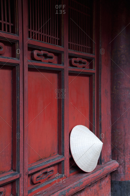Traditional conical hat at the Temple of Literature, Hanoi, Vietnam