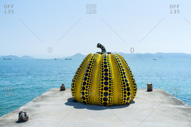 April 20, 2019: Yayoi Kusama's large yellow pumpkin in Naoshima, Japan