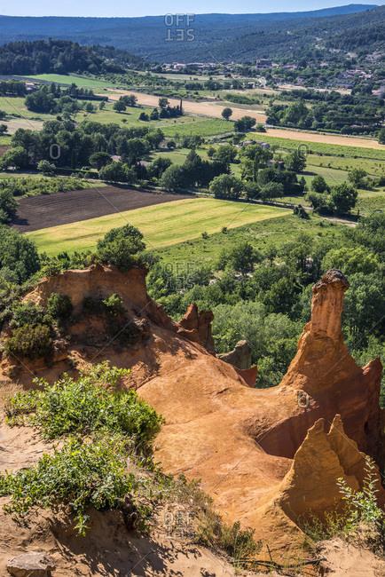 France, Vaucluse, Rustrel, Provencal Colorado landscape, Provence-Alpes-Cote d'Azur region