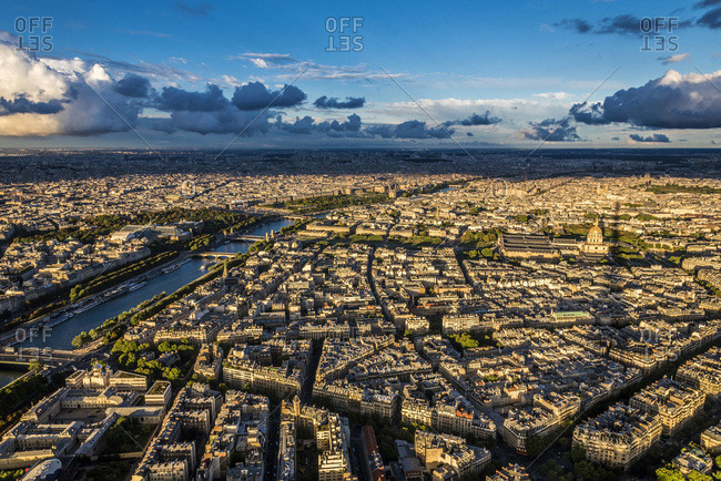 France, 7th arrondissement of Paris, view from the Eiffel Tower (esplanade and Dome des Invalides, Seine river)