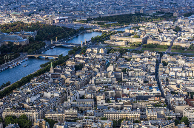 France, 7th arrondissement of Paris, view from the Eiffel Tower (esplanade des Invalides, Seine river, American Church in Paris)