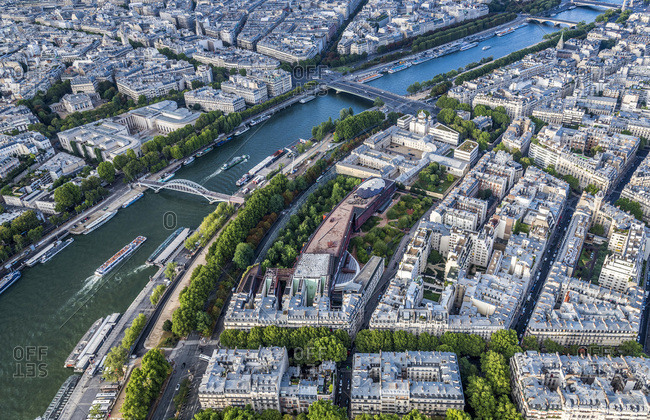 France, 7th and 16th arrondissements of Paris, view from the Eiffel Tower (Palais Galliera, Palais de Tokyo, musee du quai Branly, Holy Trinity Orthodox Cathedral, Seine river, passerelle Debilly, pont de l'Alma)